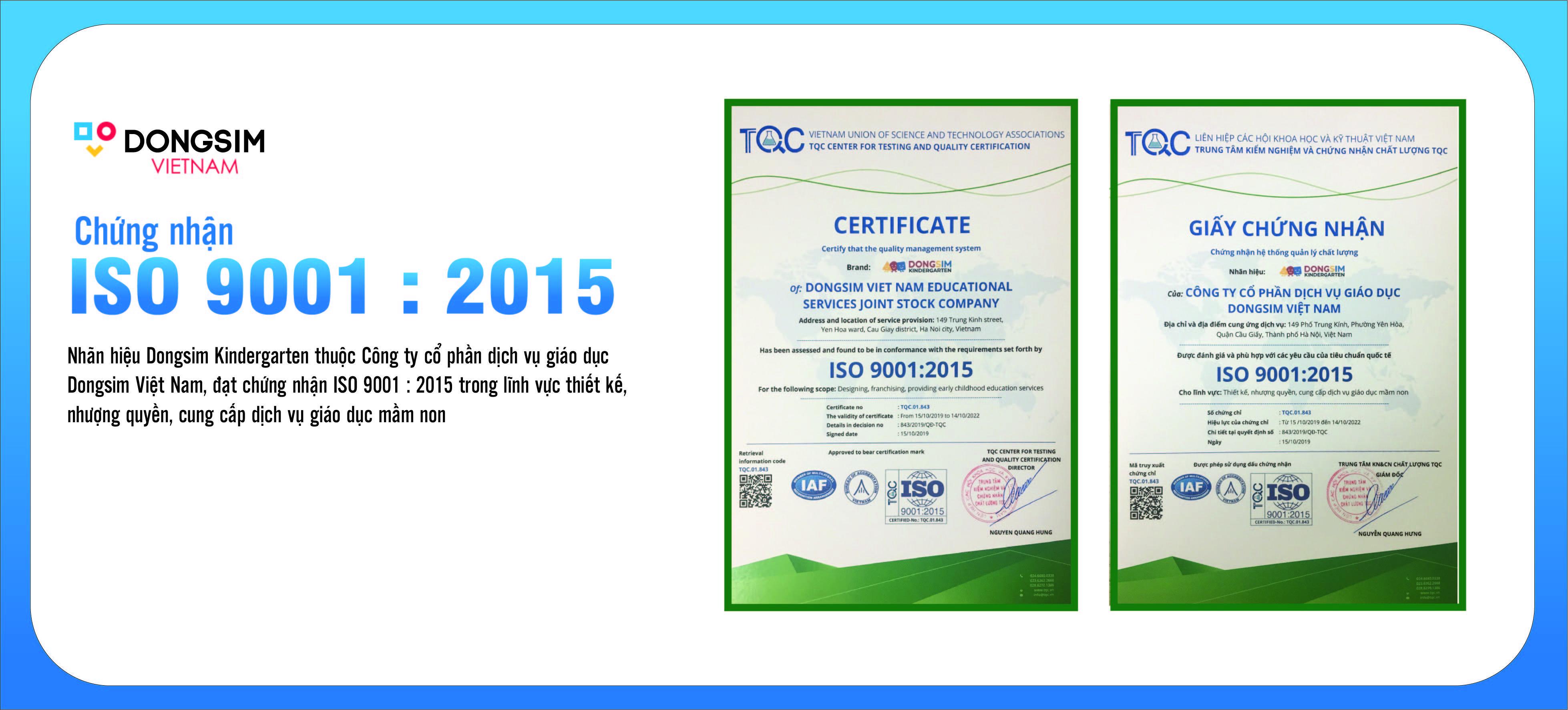 Dongsim Việt Nam đạt chứng nhận ISO 9001:2015